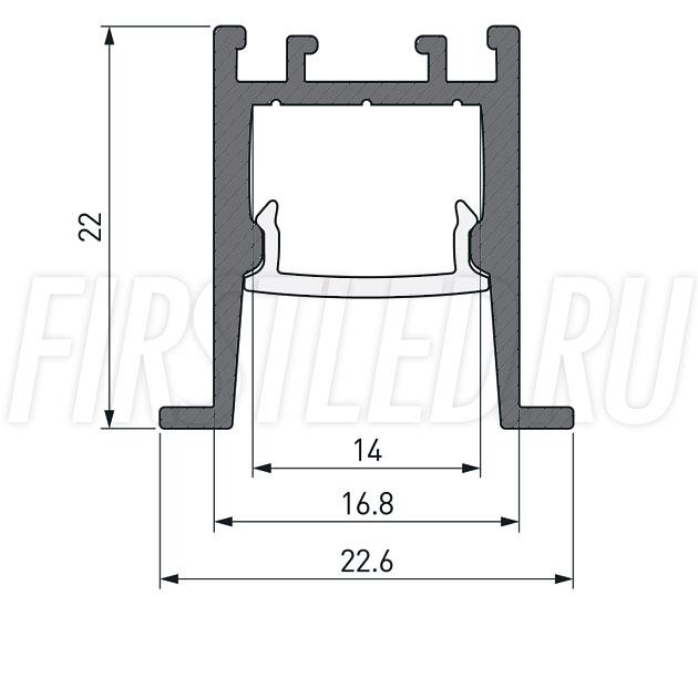 Чертеж (схема) светодиодного профиля TALUM HIDE E23.22