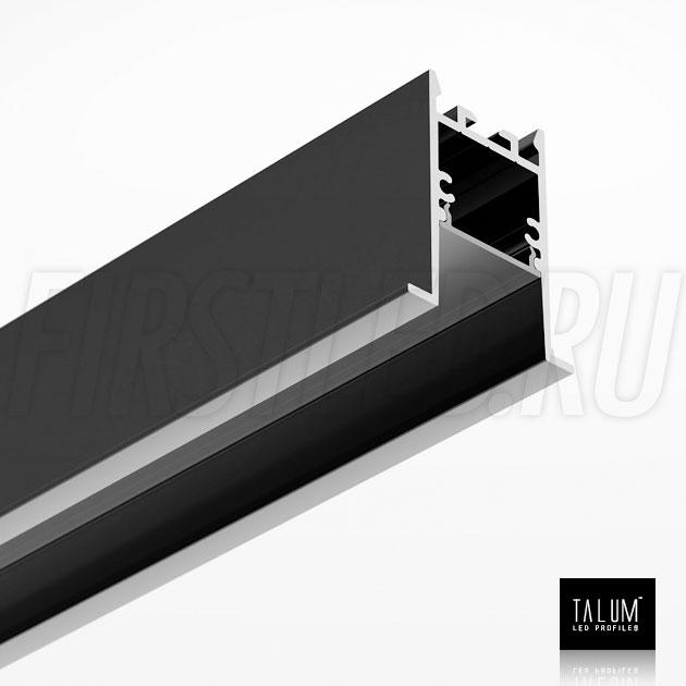 Встраиваемый алюминиевый профиль TALUM HIDE E35.42 BLACK (черный) вместе с черным матовым рассеивателем