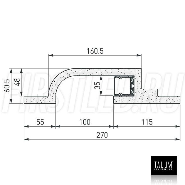 Чертеж (схема) гипсокартонного профильного модуля TALUM GYPSUM BR.35 под гипсокартон 12,5 мм