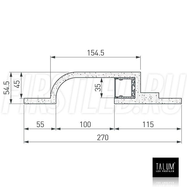 Чертеж (схема) гипсокартонного профильного модуля TALUM GYPSUM BR.35 под гипсокартон 9,5 мм