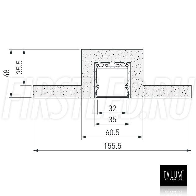 Чертеж (схема) гипсокартонного профильного модуля TALUM GYPSUM L.35 под гипсокартон 12,5 мм