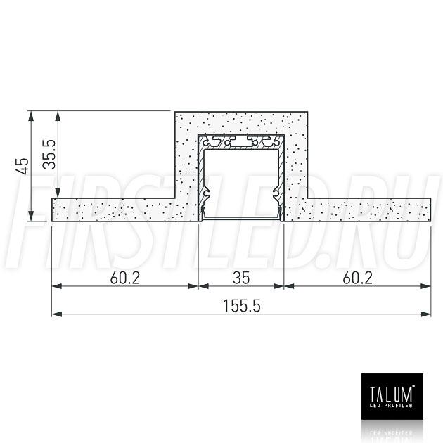 Чертеж (схема) гипсокартонного профильного модуля TALUM GYPSUM L.35 под гипсокартон 9,5 мм