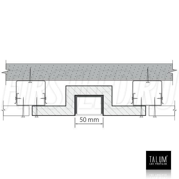 Гипсокартонный светодиодный профильный модуль TALUM GYPSUM L.50 для совместного монтажа с гипсокартонными листами