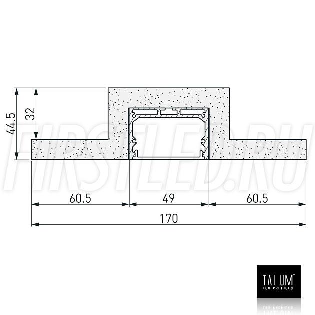 Чертеж (схема) гипсокартонного профильного модуля TALUM GYPSUM L.50 под гипсокартон 12,5 мм