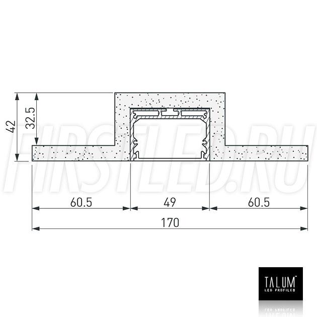 Чертеж (схема) гипсокартонного профильного модуля TALUM GYPSUM L.50 под гипсокартон 9,5 мм