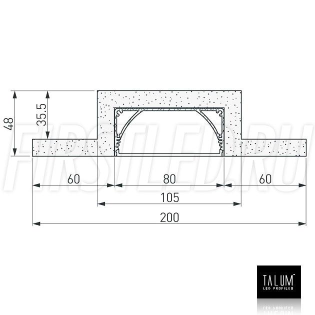 Чертеж (схема) гипсокартонного профильного модуля TALUM GYPSUM L.80 под гипсокартон 12,5 мм