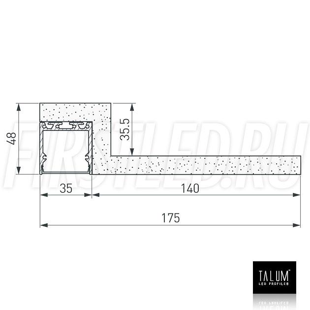 Чертеж (схема) гипсокартонного профильного модуля TALUM GYPSUM LE.35 под гипсокартон 12,5 мм