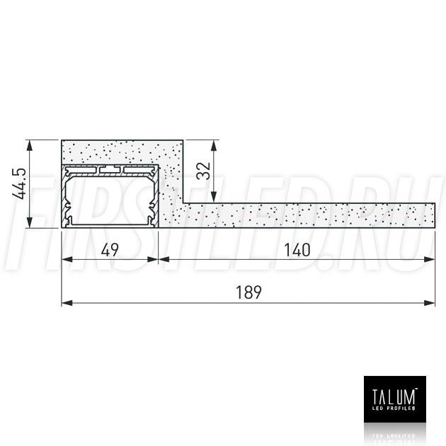 Чертеж (схема) гипсокартонного профильного модуля TALUM GYPSUM LE.50 под гипсокартон 12,5 мм