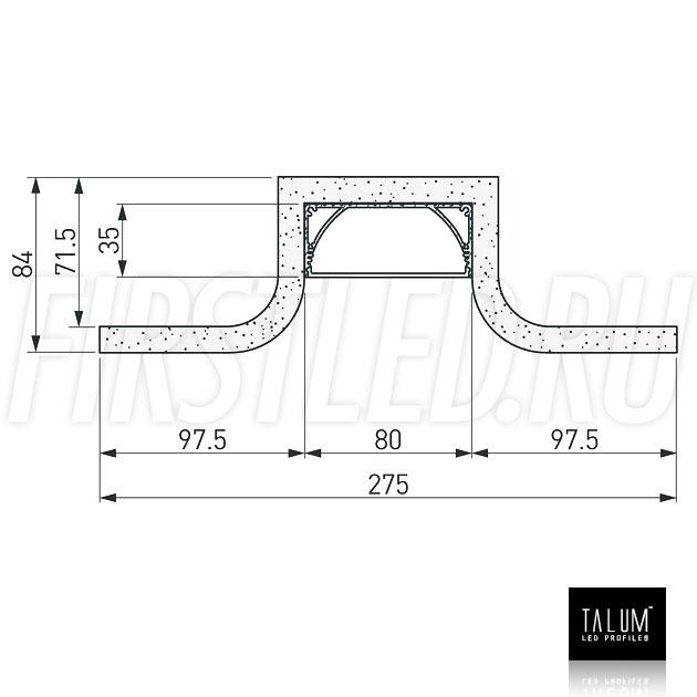 Чертеж (схема) гипсокартонного профильного модуля TALUM GYPSUM SR.80 под гипсокартон 12,5 мм