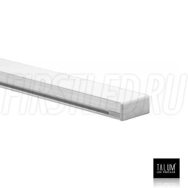 Герметичный встраиваемый профиль TALUM E19.8 с заглушкой и матовым рассеивателем