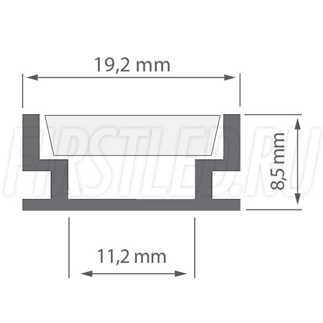 Чертеж (схема) светодиодного профиля TALUM E19.8