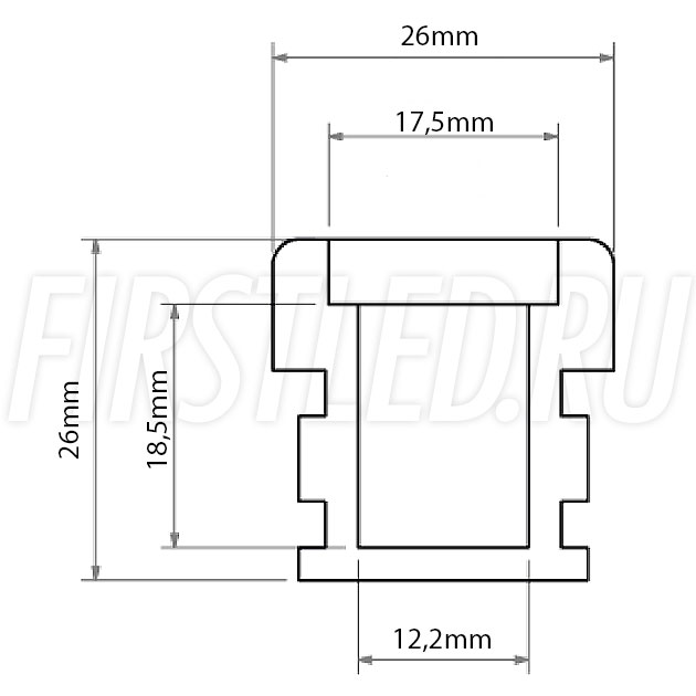 Чертеж (схема) светодиодного профиля TALUM E26.26