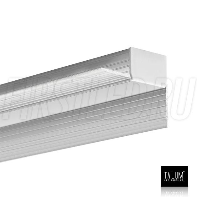 Встраиваемый алюминиевый профиль без рамок вдоль стен TALUM BORDER 24 с матовым рассеивателем и заглушкой