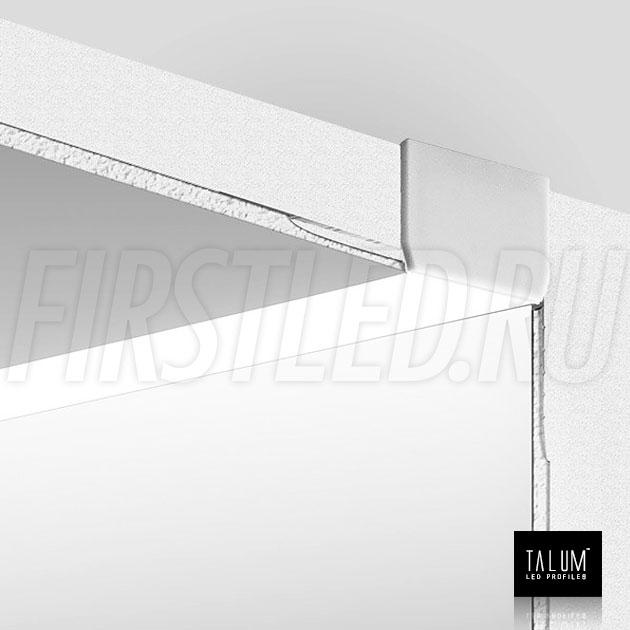 Встраиваемый алюминиевый профиль без рамок вдоль стен TALUM BORDER 24 в смонтированном виде