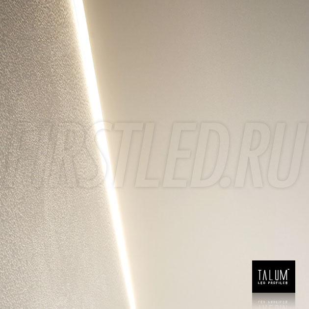 Встраиваемый алюминиевый профиль без рамок вдоль стен TALUM BORDER 24 установленный в потолке у стены