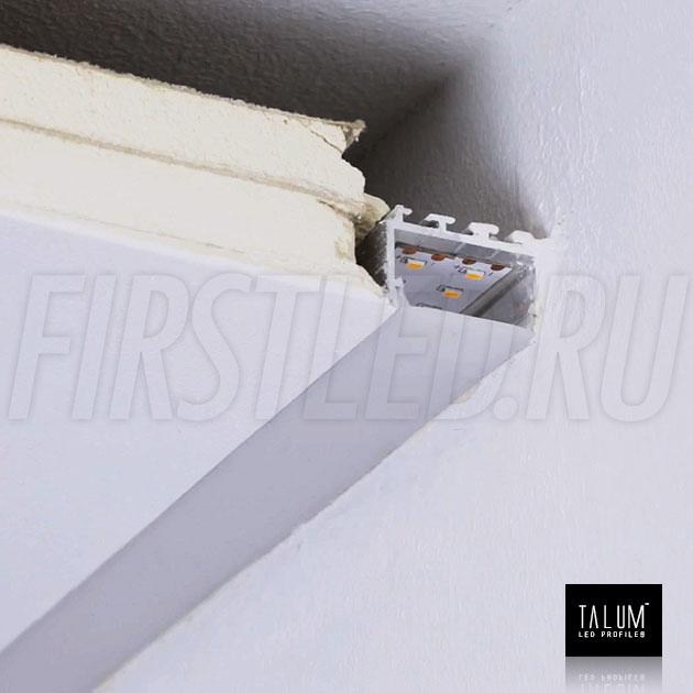 Установленный встраиваемый профиль без рамок вдоль стен TALUM BORDER 24 с матовым рассеивателем