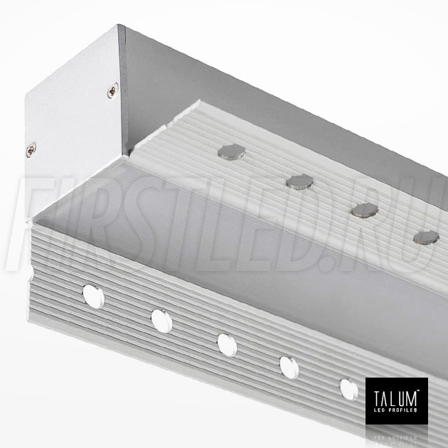 Встраиваемый алюминиевый профиль без рамок вдоль стен TALUM BORDER 32 вместе с матовым рассеивателем и заглушкой (PROF U.35)