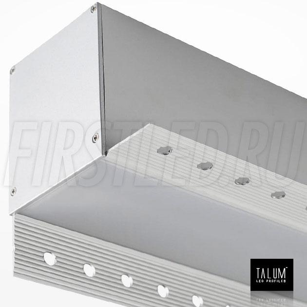 Встраиваемый алюминиевый профиль без рамок вдоль стен TALUM BORDER 54 вместе с матовым рассеивателем и заглушкой (PROF U.65)
