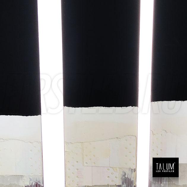Безрамочный светодиодный профиль TALUM NOFRAME 12.14 с черным рассеивателем светит как с обычным матовым рассеивателем