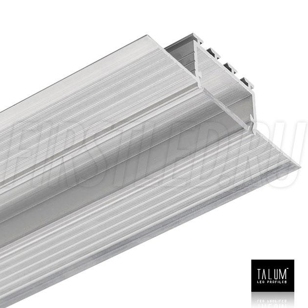 Встраиваемый алюминиевый профиль без рамок TALUM NOFRAME 24.18 с прозрачным рассеивателем