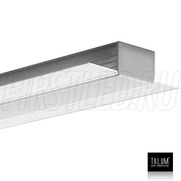 Встраиваемый алюминиевый профиль без рамок TALUM NOFRAME 24.18 с заглушкой и матовым рассеивателем