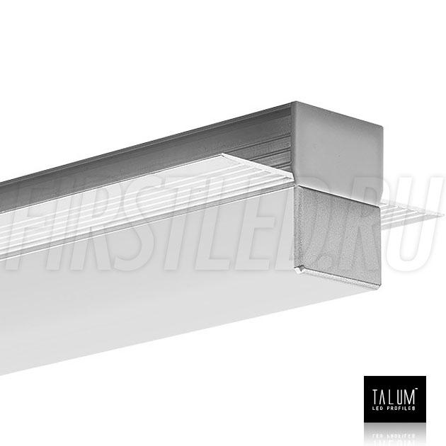 Встраиваемый алюминиевый профиль без рамок TALUM NOFRAME 24.18 с квадратным выступающим рассеивателем
