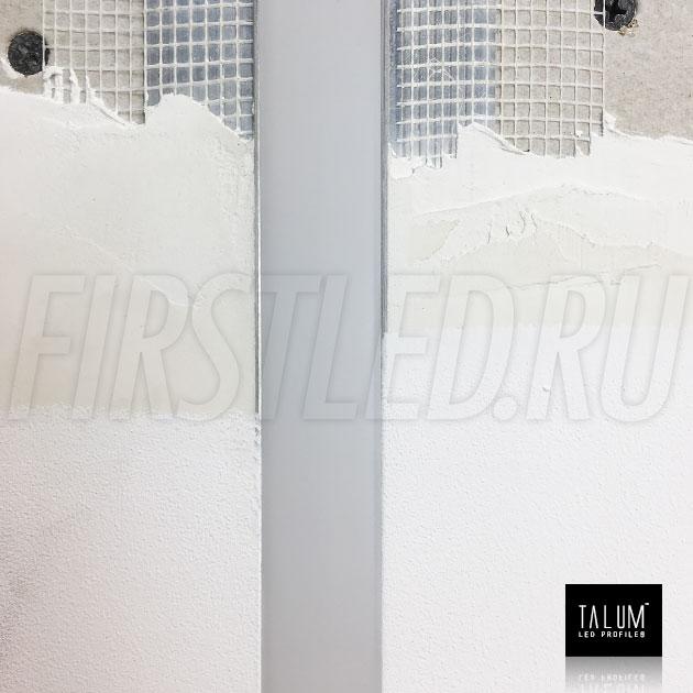 Смонтированный в потолке встраиваемый алюминиевый профиль без рамок TALUM NOFRAME 24.18 (все закрывается армирующей сеткой и шпатлюется)