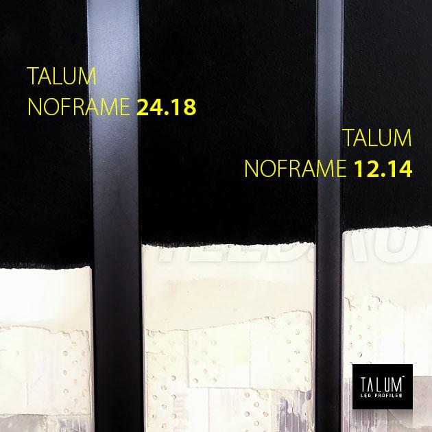 Безрамочный светодиодный профиль TALUM NOFRAME 24.18 с черным рассеивателем