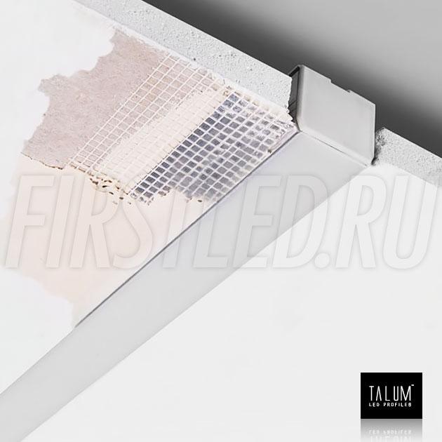 Смонтированный в потолке встраиваемый алюминиевый профиль без рамок TALUM NOFRAME 24.25 (eh67.25) (все закрывается армирующей сеткой и шпатлюется)