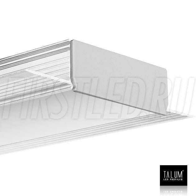 Встраиваемый алюминиевый профиль без рамок TALUM NOFRAME 45.19 с матовым рассеивателем и заглушками