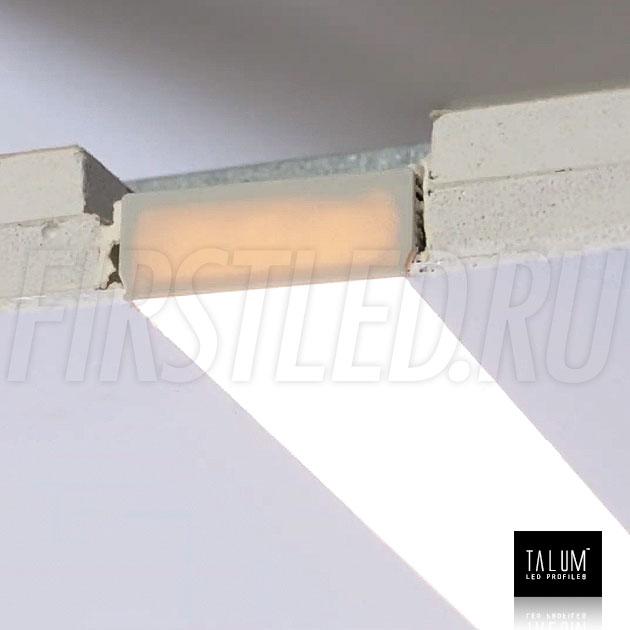 Встраиваемый алюминиевый профиль без рамок TALUM NOFRAME 45.19 смонтированный в гипсокартонном потолке