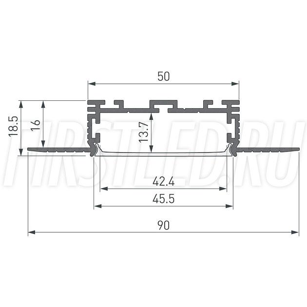 Чертеж (схема) светодиодного профиля TALUM NOFRAME 45.19