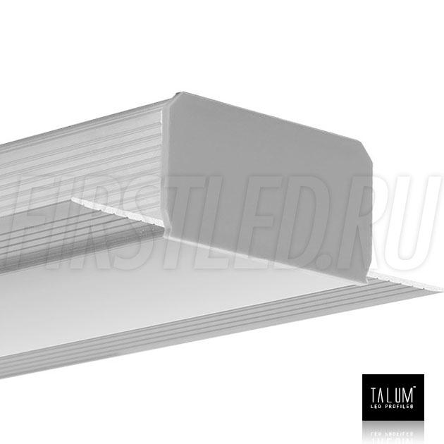 Встраиваемый алюминиевый профиль без рамок TALUM NOFRAME 45.25 с матовым рассеивателем и заглушками