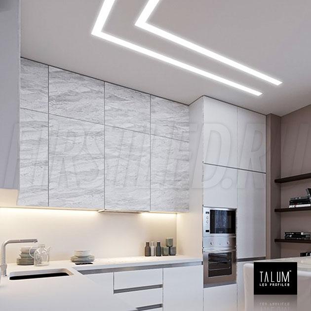 Безрамочный светодиодный профиль TALUM NOFRAME 45.25 установленный в потолке на кухне