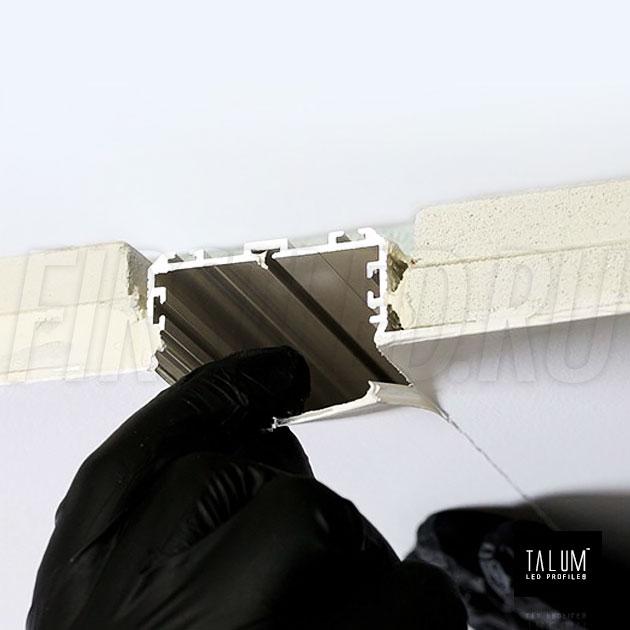 Встраиваемый алюминиевый профиль без рамок TALUM NOFRAME 45.19 / 45.25 — этап установки с монтажным рассеивателем