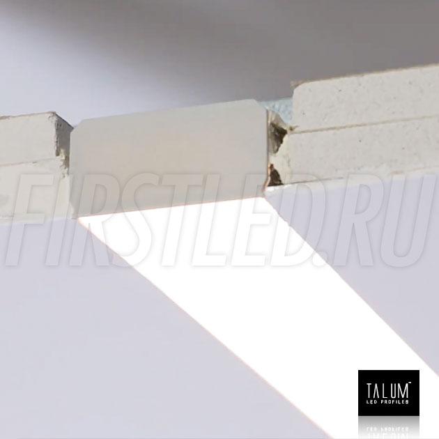 Встраиваемый алюминиевый профиль без рамок TALUM NOFRAME 45.25 смонтированный в гипсокартонном потолке