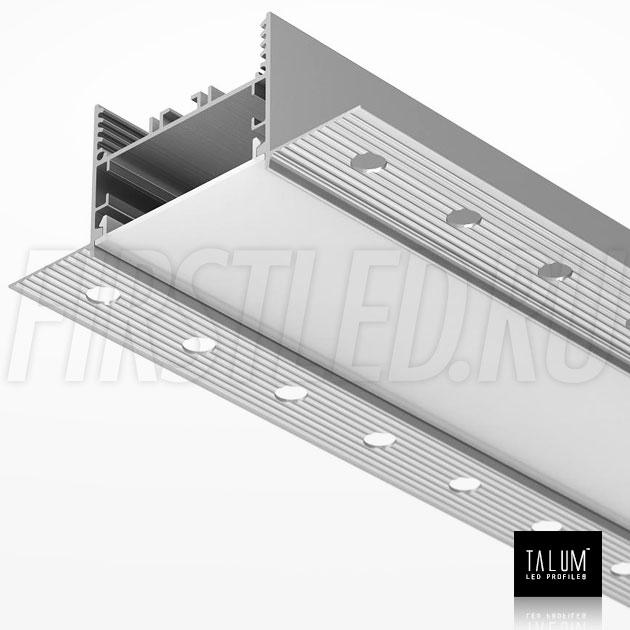 Встраиваемый алюминиевый профиль без рамок TALUM NOFRAME 45.35 с матовым рассеивателем