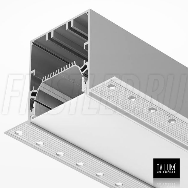 Встраиваемый алюминиевый профиль без рамок TALUM NOFRAME 54.70 вместе с матовым рассеивателем (PROF F. 65)