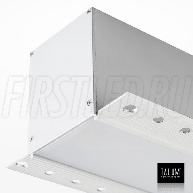 Встраиваемый алюминиевый профиль без рамок TALUM NOFRAME 54.70 вместе с матовым рассеивателем и заглушкой (PROFLINE F.65)