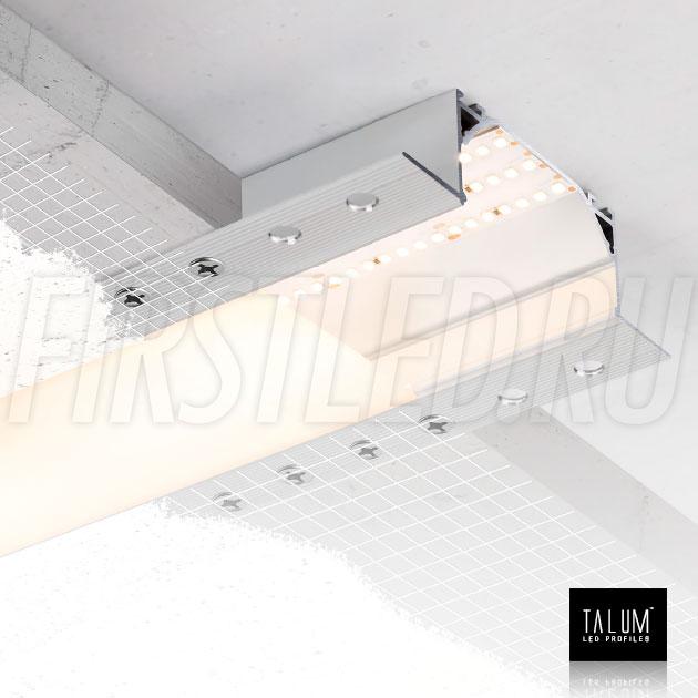 Встраиваемый алюминиевый профиль без рамок TALUM NOFRAME 72.36 — с помощью боковых фланцев профиль легко закрепляется шурупами к черновому потолку, затем все закрывается шпатлевкой