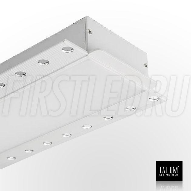 Встраиваемый алюминиевый профиль без рамок TALUM NOFRAME 72.36 с заглушкой