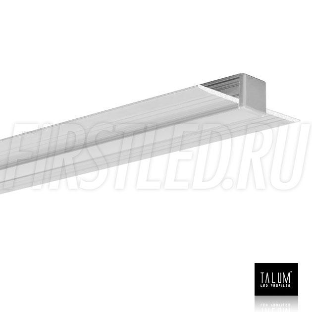 Встраиваемый алюминиевый профиль без рамок TALUM NOFRAME 8.10 с матовым рассеивателем и заглушкой