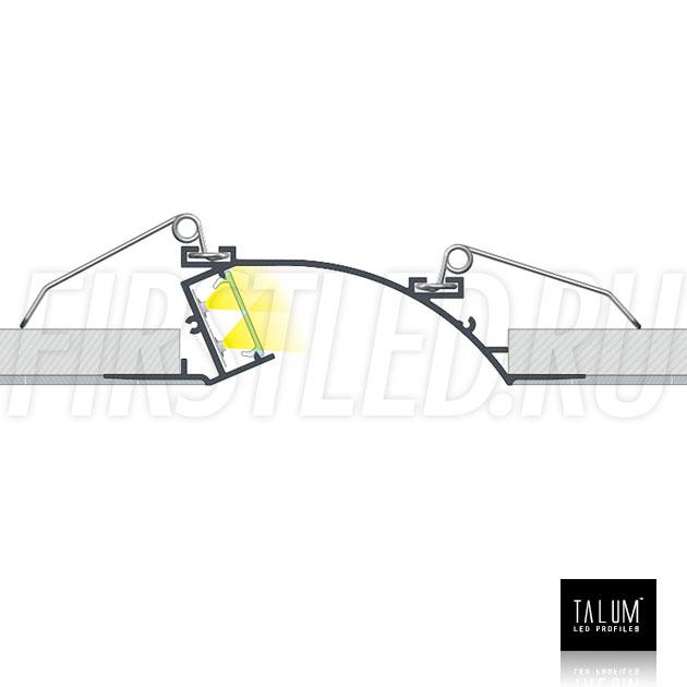 Схема установки встраиваемого профиля без рамок TALUM NOFRAME S.124