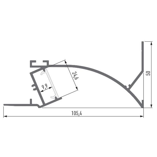 Чертеж (схема) светодиодного профиля TALUM NOFRAME SB.105