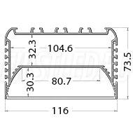 Чертеж (схема) светодиодного профиля TALUM W116.74n
