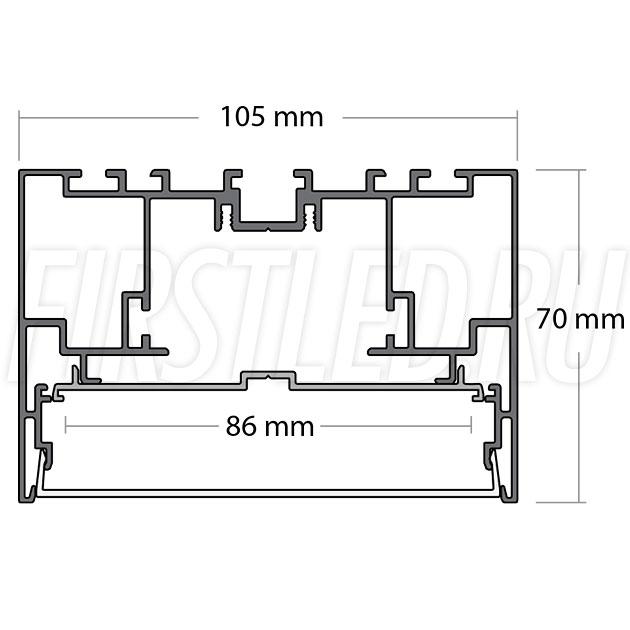 Чертеж (схема) светодиодного профиля TALUM WP105.70
