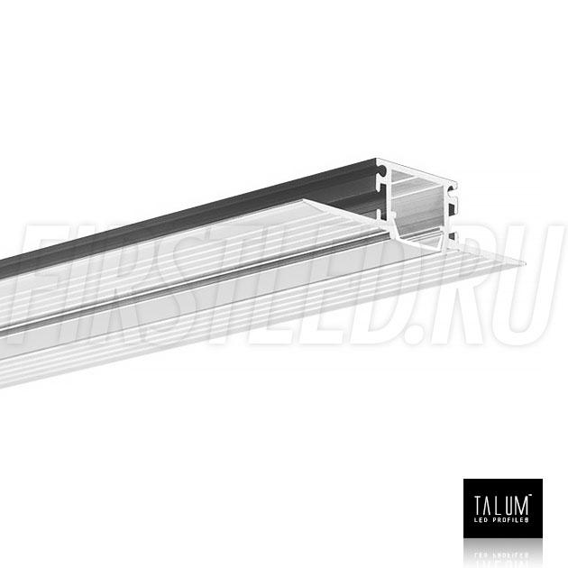 Встраиваемый алюминиевый профиль без рамок TALUM WP12.14n вместе с матовым рассеивателем