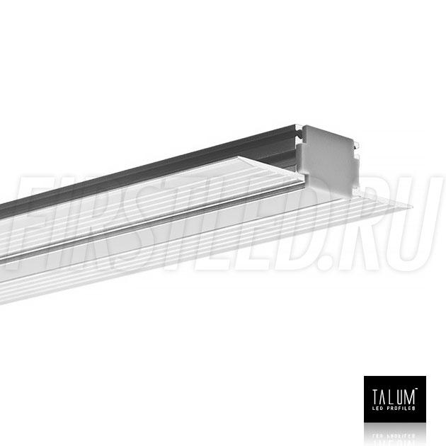 Встраиваемый алюминиевый профиль без рамок TALUM WP12.14n с заглушкой и матовым рассеивателем