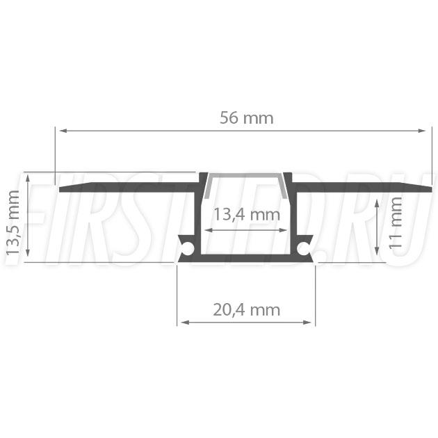 Чертеж (схема) встраиваемого светодиодного алюминиевого профиля TALUM WP12.14n