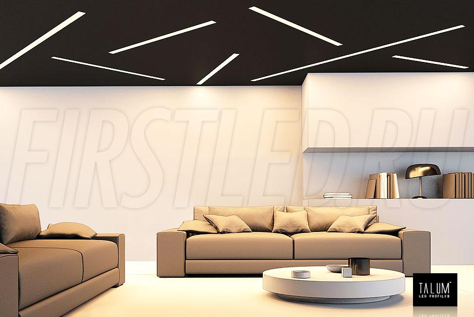 Линии света без видимых границ в потолке и стенах — это встраиваемый светодиодный профиль без рамок TALUM WP50.50n